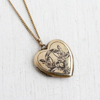Vintage Gold Filled Heart Locket Necklace - 1940s Sweetheart Floral Late Art Deco Jewelry / J.M.F. Co.