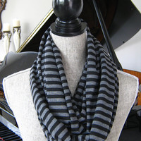 Black and Grey Striped Infinity Scarf - Black and Grey Striped Circle Scarf - Black and Grey Double Knit Scarf