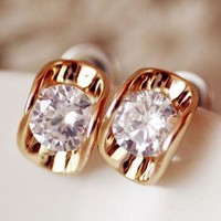 Golden Trim Rhinestone Earrings