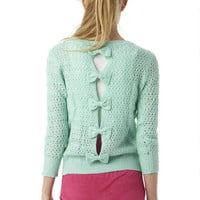 Mint Open Stitch Bow Back