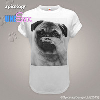 Moustache T-shirt Pug Tshirt 80s Movember Top Funny Mustache Top Animal Dog Tee Cut Fashion Puppy White Womens Mens S-XXL Shirt