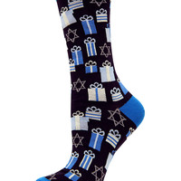 Women's Apparel | Intimates & Sleep | Hanukkah Presents Crew Socks | Lord and Taylor
