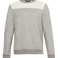 Grey Textured Leather Look Mesh Yoke Sweatshirt - New In - TOPMAN USA
