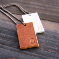 Personalized leather tag necklace in brown or white. For men women or teens.