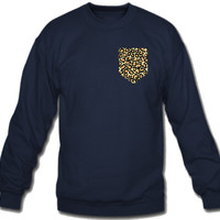 animal print FAKE Pocket Sweatshirt Crew Neck - TeeeShop
