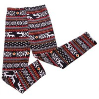 HDE Womens Knitted Nordic Insulated Leggings - Winter Wonderland