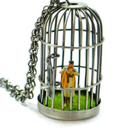 Kidnapping in cage Pendant. Necklace. Modern Jewelry. Dollhouse miniature pendant.