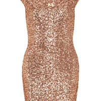 Nude sequinned bodycon dress