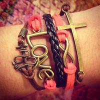 Bright Pink Love Infinity Anchor Cross Charm Bracelet, Multi Wrap Bracelet, Cross Bracelet, Wrap Bracelet