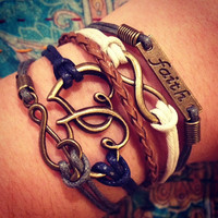 NEW Bronze Hearts Bracelet, Music Infinity Faith Bracelet, Wax Cord Bracelet, ForTheWristAndSoul