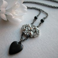Black Heart Charm Clear Rhinestone Pendant Onyx Bead Gunmetal Necklace
