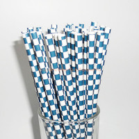 50 Navy Blue and White Checkered Paper Straws with Free Printable Flags