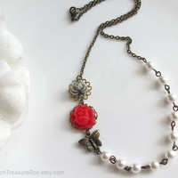 Grey and Red Rose Flower with Butterfly. White Swarovski Pearls Antiqued Brass. Nature Inspired Botanical Floral Bridal Wedding Necklace