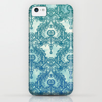 Vintage Wallpaper pattern in cobalt blue & emerald green iPhone. iPod & Samsung Galaxy S4 Case by micklyn