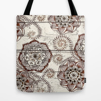 Coffee & Cocoa - brown & cream floral doodles on wood Tote Bag by micklyn