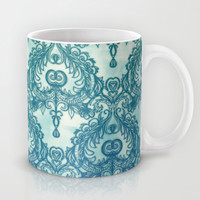 Vintage Wallpaper pattern in cobalt blue & emerald green Mug by micklyn