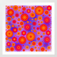 Red Orange & Purple Hippie Flower Pattern Art Print by Hippy Gift Shop