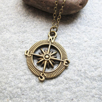 antique bronze necklace compass from youyouspace on etsy