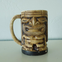 1960s Tiki Mug, Vintage Tiki Bar Decor