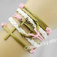 Bracelets-Inspirational Bracelet,anchor bracelet,cross bracelet,leather bracelet,hipster jewelry,couples bracelet,charm bracelet,pink rope
