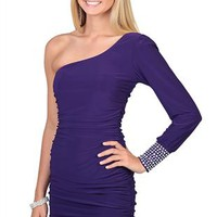 One Shoulder Bodycon Club Dress with Rhinestone Stone Cuff