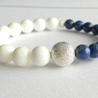 Nautical Lapis and Tridacna Jasper Bead Color Block Bracelet with Silver Stardust Bead // Navy White Stacking Bracelet //