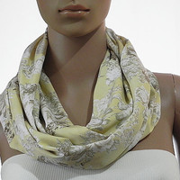 Yellow Pastel Infinity Scarf - Floral Circular Loop scarf - Long Handmade Infinity Scarf Tube Scarves Soft Cozy Fashion Scarves - Gift