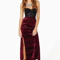 Nasty Gal Hard Crush Velvet Midi Skirt