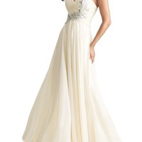 Moonar One Shoulder Beads Prom Gowns Gorgeous Evening Dress Party Gowns (US4=UK8, Beige)