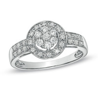 1/4 CT. T.W. Diamond Cluster Frame Promise Ring in Sterling Silver