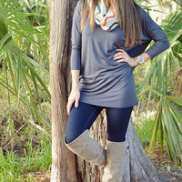 Simply V Tunic: Charcoal Grey