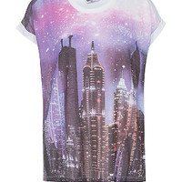 Purple Cosmic City Scene T-Shirt