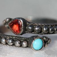 Vintage Sterling Silver Turquoise Heart Shaped Garnet Stacking Wrap Around Thumb Ring Adjustable