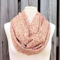 Lace Infinity Scarf - Sweet Floral Print Lace Eternity Scarf - Snood Hood - Rose Buds