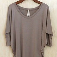 What's Not To Love? Hip Skimming Tunic, Taupe