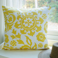 Decorative Yellow Pillow Cover Suzani Throw Pillow Cotton 20x20