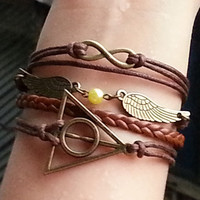 Charm Bracelet 149: Infinity Harry Potter Deathly Hallows Golden Snitch Bracelet, Friendship Personalized Charm Bracelet