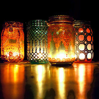 Set of 4 Mason Jar Lanterns, Moroccan Detailing on Jewel Toned Glass