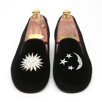 Men's Handmade Velvet Smoking Slipper Sun & Crescent Embroidered By Angel Cola