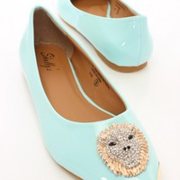 Mint Patent Faux Leather Lions Head Flats