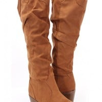 Tan Faux Suede Slouchy Knee High Heel Boots