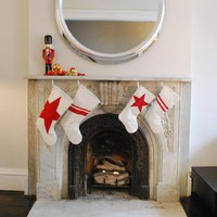 Recycled Sail Holiday Stocking - Large Red Star