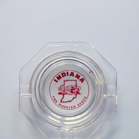 Vintage Indiana Hoosiers Glass Ashtray 1970s