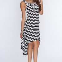 White Black Chevron Print High Low Hem Line Dress