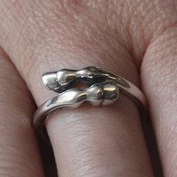 Horse Hoof Ring in Solid White Bronze with Sterling Silver Overlay