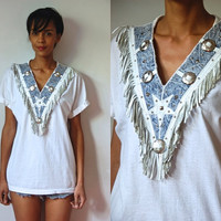 Vtg Acid Wash Fringed Silver Studded SS White Cotton Shirt