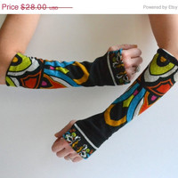 ON SALE Upcycled Multicolored Arm Warmers - Fingerless Arm Warmers - Long Gloves - OOAK