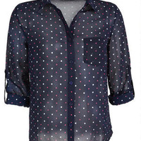 Hearts & Dots Button-Down Chiffon Blouse
