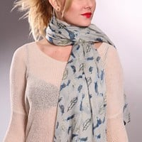 Grey Multi Extra Long Bird Scattered Feather Design Sheer Scarf