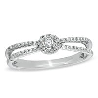 1/6 CT. T.W. Diamond Split Shank Ring in 10K White Gold